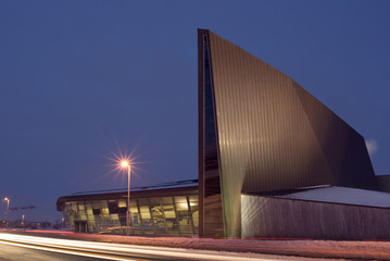 A winter night shot of the Canadian War Museum in Ottawa.