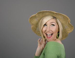 Blonde Straw Hat Big Smile