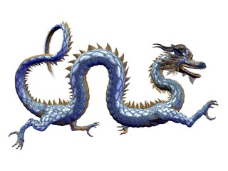 Chinese Blue Dragon - Horizontal
