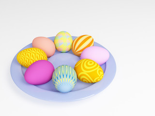 3d easter eggs in a plate, painted in different colors