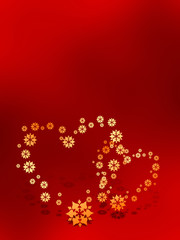 Two Valentines hearts on red background