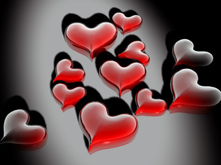 Iluminated Glossy Valentines Hearts Card