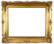 old antique gold frame over white background - 6124729
