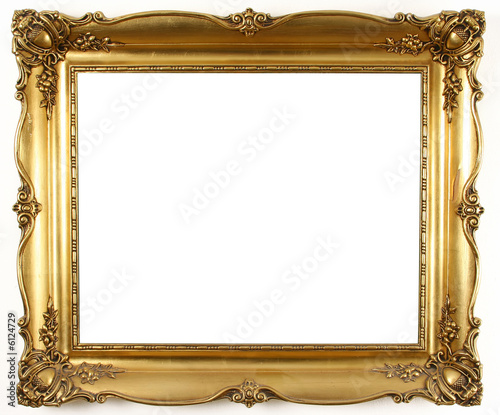 Leinwanddruck Bild old antique gold frame over white background