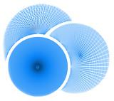 three dimensional blue circles poster