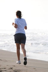 jogging on beach