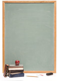 Chalkboard with books, apple, pencil, chalk and eraser poster