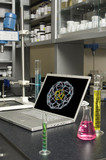 Laptop in a chemical laboratory poster