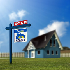 A realestate sign showing the house as sold.