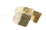 Three tea bags. Black, green and herbal tea. poster
