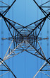 electricity pylon abstract against blue sky