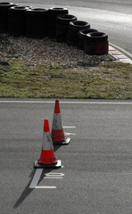 safety cones on race track grid