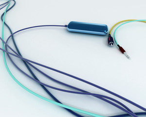 COlorful wires with jacks and USB flash drive