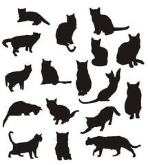 siluetas de gatos en vector