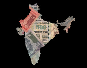 Map of India with rupees