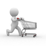 Fototapety 3d human figure with empty shopping cart