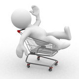 3d human in a shopping trolley