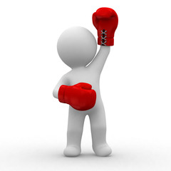 3d little guy with red boxing gloves in hands