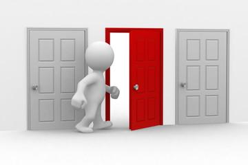 3d human that walks to an half-open door