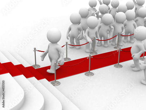 luxury entrance with red carpet and 3d crowd