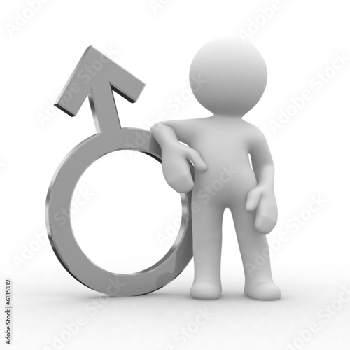 3d male figure with a metal symbol