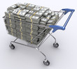 Shopping cart with dollars inside