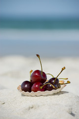 Summer food at the beach. Dieting concept