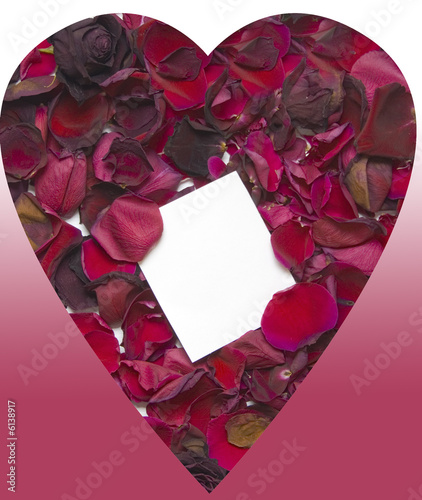 rose petals and notecard in heart shape
