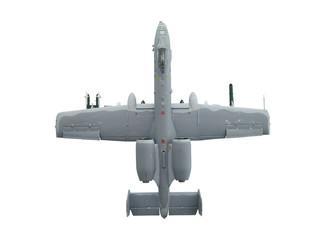 military miniature toy airplane on white background