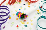 Party blower with confetti and streamers poster
