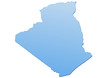 Carte de l'algérie bleu