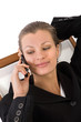 business communications concept with businesswoman on the phone