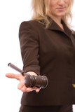 legal and law concept with businesswoman holding gavel poster