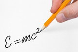 Hand writing mathematical formula on paper, scientific concept poster
