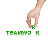 Hand and word Teamwork, business concept poster