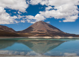 mountain, reflecting in the lake, laguna verde, bolivia poster
