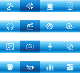 Blue bar media icons
