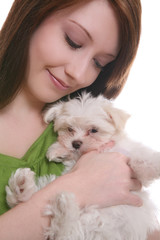 Prett Woman holding a cute, small maltese dog
