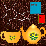 Coffee related illustration with coffeine formula poster