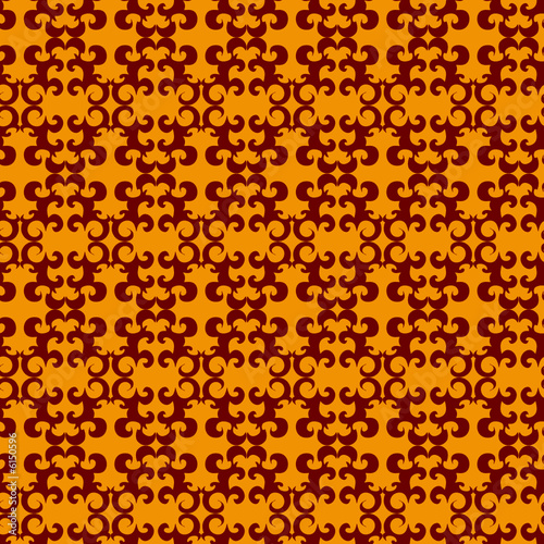 Seamless orange ornament vector pattern