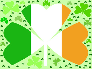 St Patrick's day shamrocks with Irish flag