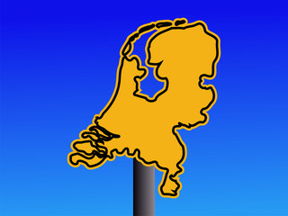 Netherlands map warning sign