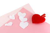 plush and paper white hearts. poster