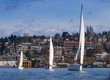 Three symmatrical yachts on a lake with city on background