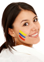 casual colombian woman face smiling portrait isolated