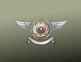 An heraldic logo or  badge   poster
