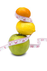 Weight loss and healthy dieting concept. Isolated over white.