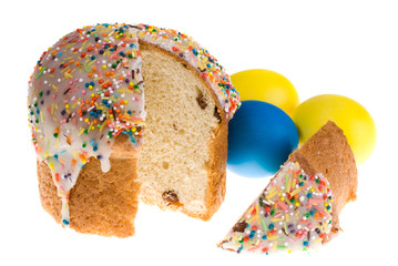 Easter eggs and cake, isolatad