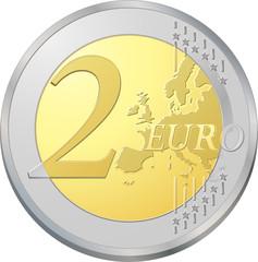 Pièce de deux euros, image vectorielle très détaillée