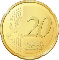 Pièce de vingt cents d'euro, image vectorielle très détaillée
